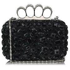 CLUTCH hand BAG diamante 172 WEDDING chain black jeweled knuckle rings evening