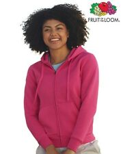 Felpa Donna con Cappuccio FRUIT OF THE LOOM Lady-Fit con Cerniera Zip Intera