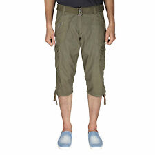 Greentree Mens Cotton Shorts 3/4 Capri 6 Pocket Cargo Shorts for Men MASR54
