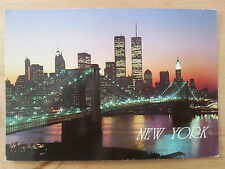 Lower Manhattan Night View Brooklyn Bridge New York City USA Postcard D8
