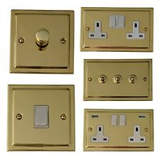 Trimline Polished Brass TBW Light Switches, Plug Sockets, Dimmers, Cooker, Fuse