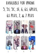 iPhone Phone Covers Cases Funky Cute Animals Stag Hipster 7 6 6S Plus 5 SE 5S 5C