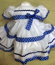 DREAM BABY ROYAL BLUE SPOT DRESS ALL SIZES AVAILABLE OR REBORN DOLL