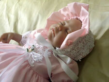 DREAM BABY GIRL PINK GUIPURE DRESS BONNET  OR REBORN DOLLS