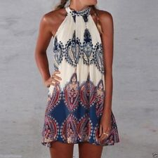 vestido estampado etnico verano polyester SUMMER ETHNIC PRINTED DRESS ROUND NECK