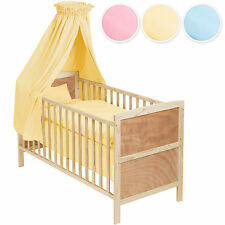Babybett mit Himmel 3in1 komplett Kinderbett Juniorbett Bettset Bettwäsche Set