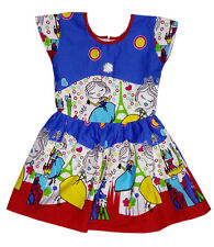 Kids dresses baby clothing Girls Cotton Frock Castle & Princess print Blue
