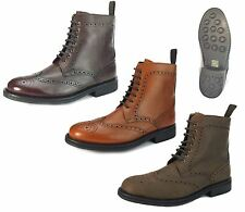 Frank James Benchgrade Leather Welted Lace Up Brogue Rubber Sole Dealer Boots