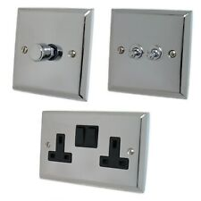 Spectrum Polished Chrome SCB Light Switches, Plug Sockets, Dimmers, Cooker, Fuse
