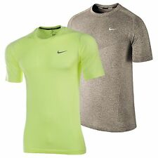 Nike Men's Dri-FIT Knit Short Sleeve Tee Running T-Shirt Green Grey 589640