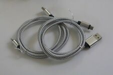 2X Silver braided USB Charging Cable Data Sync For Samsung Galaxy Iphone LG