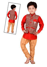 Kids ethnic dresses baby clothing boys Red kurta pajama with Modi Jacket