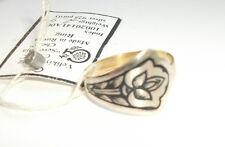 Stunning Russian Niello .925 Silver & Gold Plated Shaped Lotus Ring