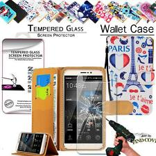 Leather Wallet Case +Tempered Glass Screen Protector For Cubot Phone