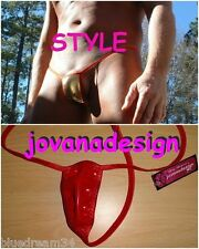 jovanadesign Mens Extreme Smallest G-String, Red Shiny Vinyl/Red XS S M L XL