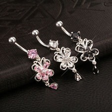 Navel Belly Bar Crystal Dangly Body Piercing Belly Button Ring Butterfly Zircon