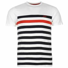 MENS WHITE BLACK LEE COOPER STRIPE STRIPED SHORT SLEEVE T-SHIRT TEE SHIRT