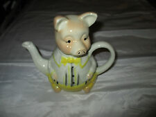 Tony Wood Staffordshire Pottery England 13cms High Yellow Pig Suit  Teapot