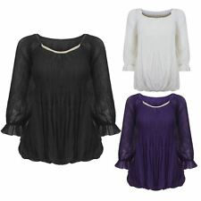 LADIES WOMENS 3/4 SLEEVES CHIFFON BLOUSE STRETCHABLE TOP SHIRT DRESS 8 10 12 14