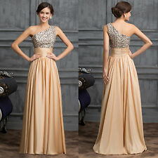 One shoulder Sequins Adorned Ball Gown Evening Prom Party Dress Maternity UK6-20