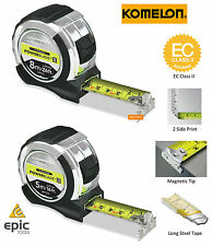 KOMELON Soft Grip 5m/16ft Or 8m/26ft PowerBlade HI VIZ Magnetic End Tape Measure
