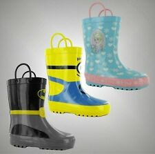 Kids Boys Girls Character Printed Pull Loops Wellies Shoes Boots Size C4-2