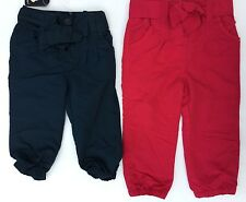 Baby Girl Navy or Red Fully Lined Trousers with Tie Belt & Bow detail