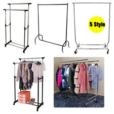 HEAVY DUTY GARMENT CLOTHES RAIL SHOP DRESS DISPLAY STAND RACK METAL WITH WHEELS