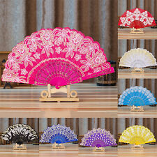 1Pc Chinese Fan Silk Lace Fabric Folding Held Dance Hand Fan Party Wedding Prom