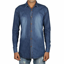 Greentree Mens Denim Shirt Casual Shirt Blue Jeans Cotton Shirt MAST15