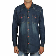 Greentree Men's Casual Denim Shirt Blue Cotton Jeans Shirt MAST16