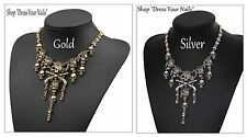 Skull + Gun Choker Necklace Pirate Gothic Charm Chain Thick Strong Alloy Metal