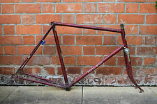 "1950s BSA STAR RIDER 23"" RED LUGGED STEEL VINTAGE ROAD TOURING BICYCLE FRAME SET"