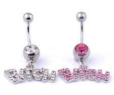 Navel Belly Bar Crystal Dangly Body Piercing Belly Button Ring Bitch Belly Bar