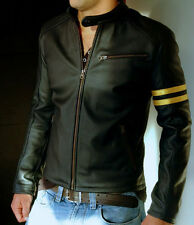 WINTER JACKET 100% PURE MEN'S BLACK LEATHER JACKET SLMJ017