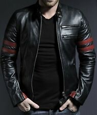 WINTER JACKET 100% PURE MEN'S BLACK LEATHER JACKET SLMJ018