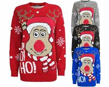 New Unisex Knitted Ho Ho Ho Christmas Xmas Jumper Reindeer Rudolph Top Sweater