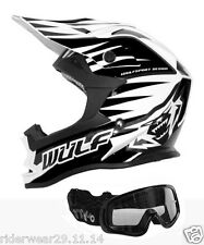 WULF ADVANCE Casco Moto Cross Scooter Crash Casco Quad Motocross, Nero occhiali