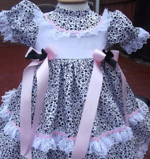 DREAM BABY WHITE PINK BLACK FLORAL DRESS NEWBORN 0-3 3-6 MONTHS OR REBORN DOLLS