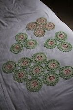 Vintage, pastel green and pink crocheted doily set of 4 pieces 1930s?
