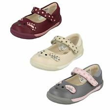 INFANT GIRLS CLARKS LEATHER MARY JANE RIPTAPE SHOES WITH MOUSE PRINT IVA PIP