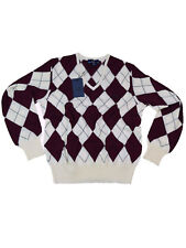 Fred Perry V-Neck Pullover Feinstrick Raute Ivory / Bordeaux K9123 129 #6062
