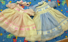 DREAM BABY PINK/BLUE WITH CREAM TEDDY DRESS & HBD NEWBORN 0-3 MONTHS OR REBORN