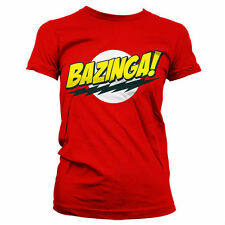 BIG BANG THEORY BAZINGA SUPER LOGO camiseta mujer girlie-shirt official license