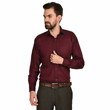Greentree Mens Formal Shirt Cotton Office Wear Solid Maroon Shirt MAST10