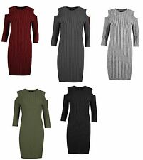 NEW LADIES WOMENS CUT OUT COLD SHOULDER SOFT RIBBED KNITTED BODYCON MINI DRESS