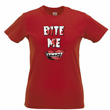 Bite Me Vampire Halloween Spooky Creepy Drink Blood Pun  Womens T-Shirt
