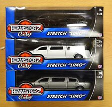 TEAMSTERZ DIECAST PLASTIC WHITE GREY BLACK STRETCH LIMO LIMOUSINE OPENING DOORS