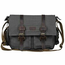 S-ZONE Vintage Canvas Leather Bookbag Laptop Bag + Trim DSLR SLR Camera Exchange