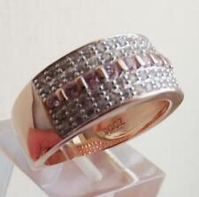 CLEAR & PINK DIAMONIQUE ROSE GOLD PLAT STERL SILVER RING UK- K US-5.5 QVC NEW